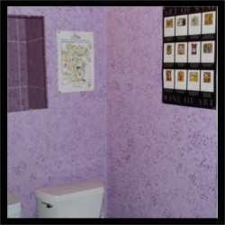 faux finish in the women's bathroom at